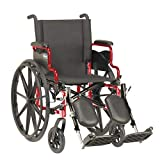 Invacare 9000 XT High Performance Lighter Weight Wheelchair, with Desk Length Arms and T94HC Elevating Legrests with Padded Calf Pads, 16' Seat Width, Electric Red -ATO_9XT_WD66_61P_T94HC