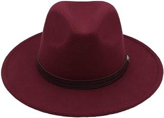 絶妙な帽子 帽子秋冬日曜日帽子女性男性フェドラ帽クラシックワイドつばフェルトフロッピークローシュキャップシャトー模造ウールキャップ (色 : ワインレッド, サイズ : 56-58CM)