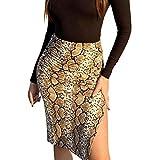 ADYD Falda sexy con estampado floral de cintura alta y dobladillo dividido para niñas.