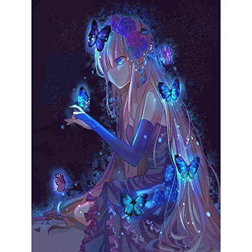 DIY 5D Diamond Painting by Number Kits, Girl inDark AnimeGirlcool Butterfly Round Full Drill Acrylic Embroidery Cross Stitch Arts Craft Canvas Supply for Home Wall Decor Adults and Kids 11.8x15.7