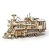 Modello Puzzle Kit 3D Trenino di Legno Giocattolo educativo Insieme Locomotiva Treno Giocattolo Modello Meccanico di Puzzle Puzzle per Bambini Adulti (Color : Natural, Size : 375x120x185(mm))