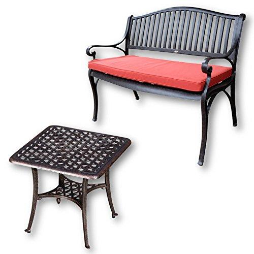 Lazy Susan - Grace Gartenbank und Sandra Quadratischer Kaffeetisch - Gartenmöbel Set aus Metall, Antik Bronze (Terracotta Kissen)