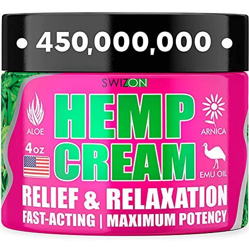 Crema de cáñamo natural para articulaciones, cuello, espalda, codos, dedos, caderas, fabricado en los Estados Unidos, potente extracto de aceite de cáñamo con árnica, Msm, aceite de emu, aloe vera, cúrcuma, mentol, 4 oz