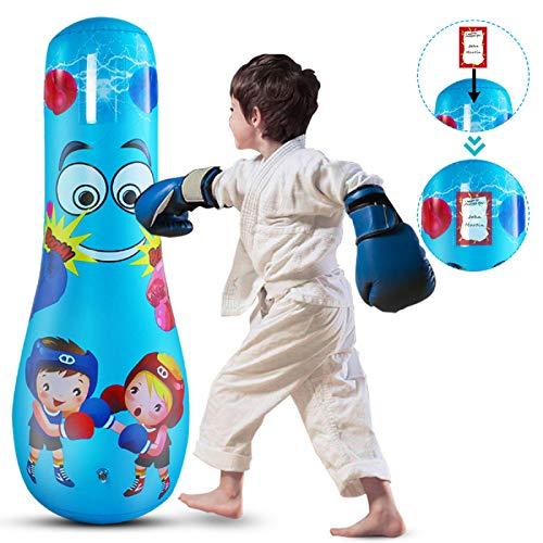 DERCLIVE Aufblasbarer Boxsack, freistehend, für Kinder mit Boxen, Ninja-Boxsack, zum Üben von Karate, Taekwondo, MMA und Kinder und Erwachsene