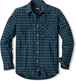 CQR Men's Flannel Long Sleeved Button-Up Plaid All-Cotton Brushed Shirt, Corduroy Lined(hof110) - Indigo, Small