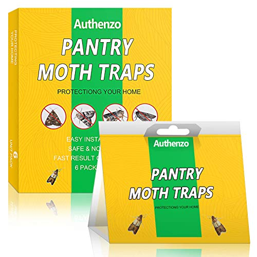 Authenzo Panty Moth Traps, Premium Moth Traps with Pheromones Prime, Moth Killer Sticky Glue Trap for Food, Meal and Cupboard Moths in Kitchen, Safe, Non-Toxic with No Insecticides(6 Traps)