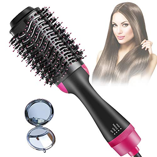 Ceramic-Coating Hair-Dryer-Brush Negative-Ion Blow-Dryer-Brush Hot-Air-Brush One-Step-Hair-Dryer-and-Volumizer for Hair Straightening, Curling, Styling and Drying 1000W black-rose