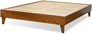 ExceptionalSheets Wood Bed Frame - Made in The USA w/100% North American Pine - Solid Mattress Platform Foundation w/Pressed Pine Slats - Tool-Free Assembly - King