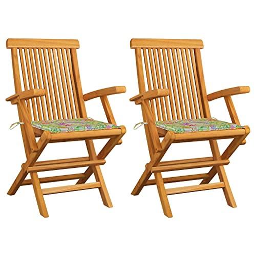 vidaXL 2X Madera Teca Sillas de Jardín con Cojines Sillón Exterior Balcón Terraza Patio Asiento Butaca Muebles Mobiliario Estampado Hojas