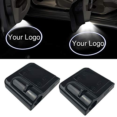 NewL 2Pcs Custom Logo Wireless LED Projector Car Door Step Courtesy Welcome Lights