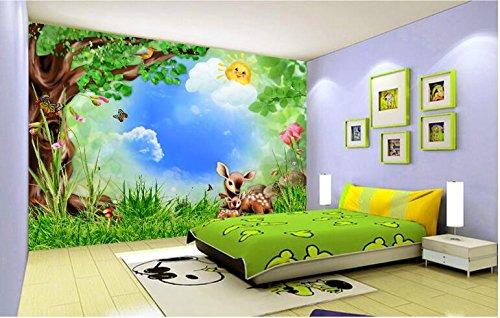 Yosot Großer Innenraum Malen Kinder Lieblingstapete Wald Wald Tiere Kinderzimmer Wandbild Hintergrund 3D Tapete-200Cmx140Cm