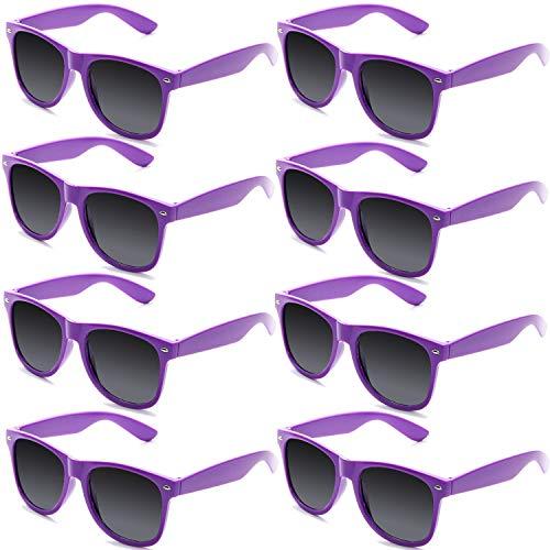 FSMILING 8 Paare Neon Party Sonnenbrille Set 80er Retro Klassisch Partybrillen Für Kinder Herren Damen(lila)