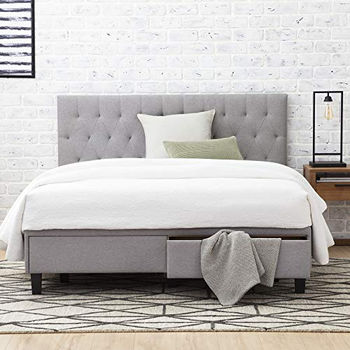 Everlane Home Windsor Upholstered Bed with Built-in Drawers-Diamond Tufted Headboard-Fabric Finish-Easy Setup Platform, King, Slate