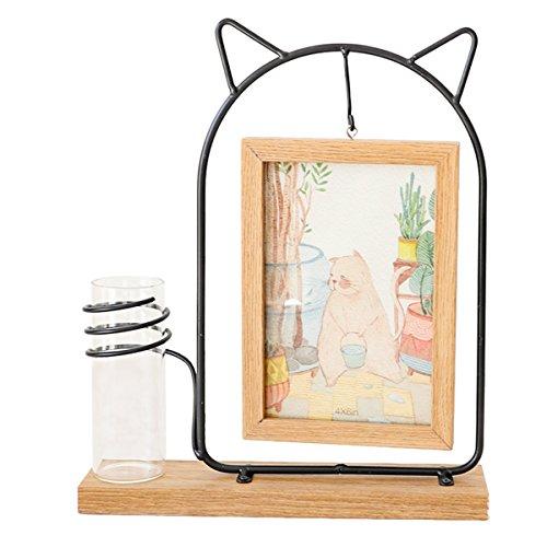 Rustikale Collage Familie Hängen Holz 4X6 Bilderrahmen mit Glas Wasserpflanze Vase für Heimtextilien (Katze)