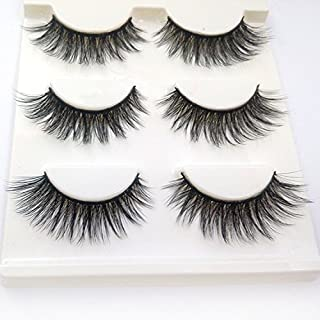 Trcoveric 3D Fake Eyelashes Fluffy Volume Long Nature Crisscross Wispies Soft False Lashes Handmade 3 Pair Pack