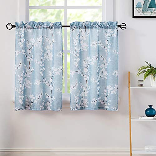 """Fmfunctex Blue White Tier Curtains 36-inch Length for Kitchen Windows White Blossom Print Half Bathroom Window Curtain Panels 36"""" Length Café Curtains for Privacy Floral Design 2 Panels"""