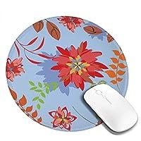 赤いツツジ 花 花柄 丸型 マウスパッド ゲーミングマウスパッド パソコン 周辺機器 光学式マウス対応 オフィス自宅兼用 防水 洗える 滑り止め 高級感 耐久性が良い 20*20cm