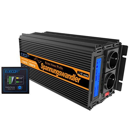 EDECOA Spannungswandler 24v 230v Wechselrichter Reiner Sinus 1500w 24v 230v Konverter 24v auf 230v mit Fernbedienung und 2 USB LCD-Bildschirm mit Informationen zum Wechselrichter 1500w Reiner Sinus