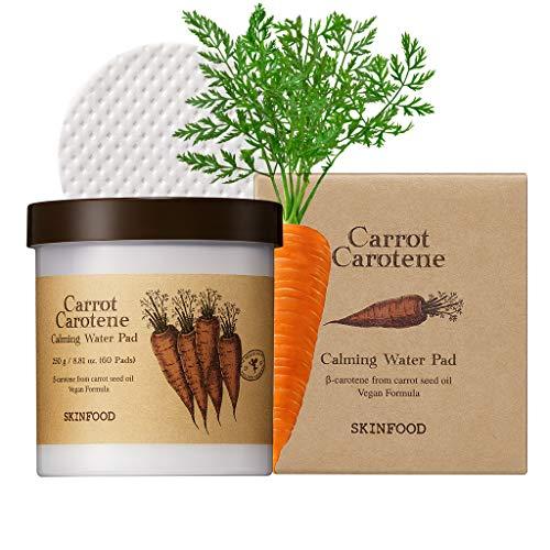 SKIN FOOD 250 g de zanahoria caroteno calmante agua pad (8.81 oz.) de 60 rojeces calmante sábanas, almohadillas de algodón faciales para la piel sensible, vegano, crueldad libre