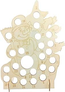 Ruzida Snowman Wooden Christmas Advent Calendar Countdown Hollow DIY Chocolate Display for Christmas Wedding Party