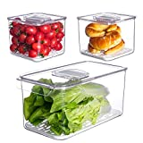 Vegetable Fruit Storage Containers,vacane 3 Pcs Set Fresh Produce Saver with Lids and Vents,Stackable Salad Lettuce Keeper for Refrigerator or Easy Carry,BPA-free Stay Fresh Containers,5.7L/1.7L/1.7L