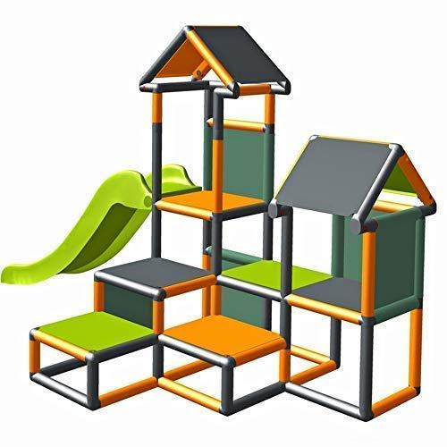 move and stic Spielturm Kletterturm Gesa mit Rutsche für Kleinkinder mit Kriechtunnel Mas (orange titangrau)