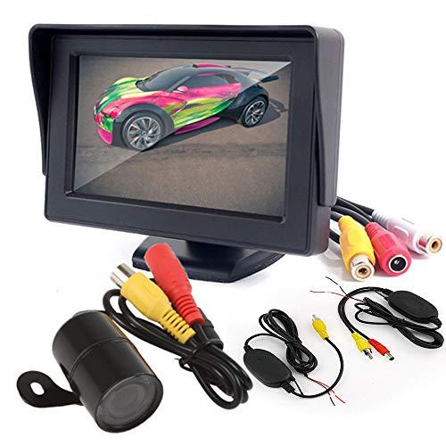 Boomboost 2015 4,3 Pouces TFT LCD Affichage à écran Couleur de Poche Moniteur de Vue arrière + caméra de Vision Nocturne rétroviseur de Voiture + transmetteur vidéo et kit récepteur