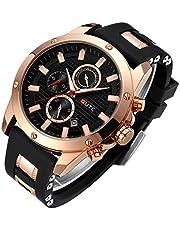 STONE メンズ 腕時計 クォーツ 多機能 ウォッチ シンプル 男性 時計 クロノグラフ 日付表示 夜光 革バンド