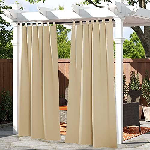 PONY DANCE Outdoor Curtain Drapes - Patio Drapes Water-Proof Fabric Window Curtain for Patio / Balcony / Front Porch, 52' W x 84' L, Biscotti Beige, 1 Panel