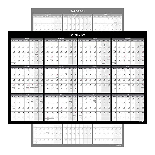 Großer Jahresplaner Abwischbar - Wandkalender Beschreibbar, Wandplaner XL, 61 x 91 cm - Zweiseitig bedruckt - Quer- und Längsformat, inkl. Klebeband zur Befestigung (Aug 2020 - Jul 2021)