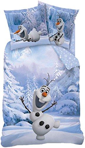 Frozen Kinder Wende-Bettwäsche Die Eiskönigin Snowman Olaf 135x200 + 80x80 cm 100% Baumwolle Bettzeug Bettbezug Anna Elsa Sven Kristoff Schneemann Arendelle Disney Plus Filme Movie deutsche Größe