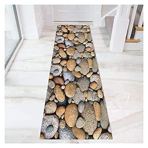 YYQIANG Tapis de runneur de couloir en pierre 3D, pile courts doux Tapis de tapis avec porte à l