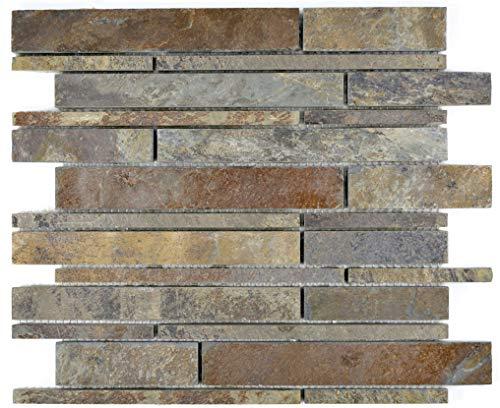 Piastrelle a mosaico in ardesia naturale grezza per pavimenti, parete bagno, doccia, cucina, piastrelle tartaruga da bagno, vasca, decorazione a mosaico
