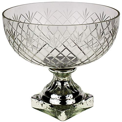 Glasschale Pokal auf Fuss 21cm Silber Kelch Glas Schale Weihnachten Tischdeko Home Country Landhaus Wohndeko Klar Landhaus