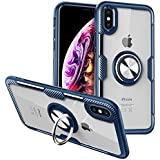 CHEEDAY Compatible iPhone XR Case Carbon Fiber Design Bumper Slim Fit Clear Crystal Anti-Scratch Hard Case with Rotation Ring Kickstand [Work with Magnetic Car Mount] for iPhone XR 6.1 inch - Blue