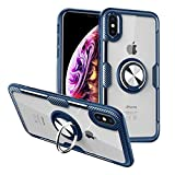 CHEEDAY Compatible iPhone XR Case Carbon Fiber Design Bumper Clear Crystal Anti-Scratch Hard Cover with Rotation Ring Kickstand [Work with Magnetic Car Mount] for iPhone XR 6.1 inch - Blue