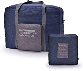 Travel Foldable Duffel Bag for Men & Women - Carry On Luggage Tear & Water Resistant by HQSlife (Navy Blue)