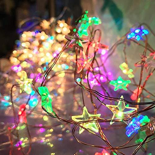 Zshhy 3M 30led Kupferdraht Lichterketten 3XAA Batterie Powe Sternform Lichterketten für Weihnachten Hochzeit warmweiß/weiß/RGB-RGB
