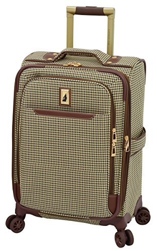 LONDON FOG Cambridge II Softside Expandable Spinner Luggage, Olive Houndstooth, Carry-On 20-Inch