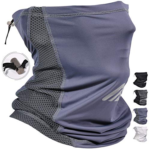 Adjustable Neck Gaiters Face Mask UV Proof Protection Dust Cycling Mask Balaclava Scarf Face Mask Breathable Bandana Mask Face Coverings for Men Women Headbands Blue Grey