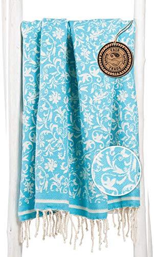 ZusenZomer Fouta Toalla Turca XXL con Flores Elegantes 100x200 100% Algodón - Teli Mare Hammam Diseño Exclusivo (Turquesa)