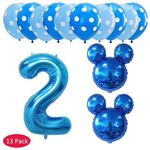 Hongfago 13 pcs globos de cumpleaños 2 año, Decoración Fiesta de Cumpleaños Mickey Minnie Numero 2 Globo de papel de aluminio y Globo de Latex Negro Azul Para Happy Birthday Niños de 2 año