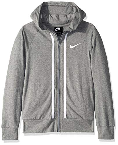 Nike Girl's NSW Full-Zip Jersey, Carbon Heather/White, Medium
