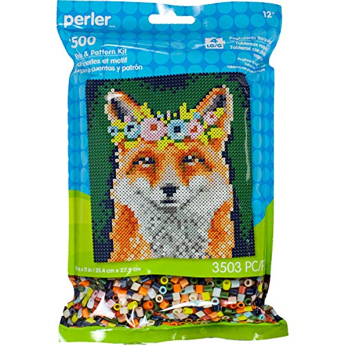 Perler Floral Fox Pattern and Fuse Bead Kit, 10'' x 11'', 3503pc