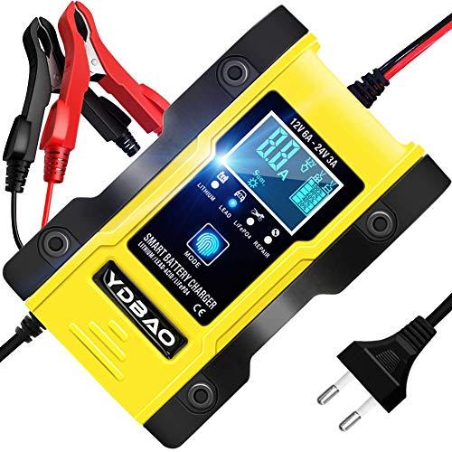 YDBAO Autobatterie Ladegerät 6A 12V/24V Vollautomatisches Batterie Ladegerät mit LCD-Bildschirm eignet für Auto und Motorräder Kompatibel für Blei-Säure,Lithium, LifePO4