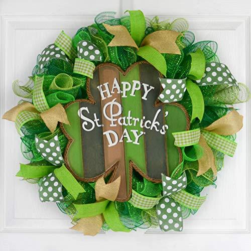 St Patricks Wreath | Clover Wreath | Welcome Day Mesh Door Wreath | Sage Green White Burlap