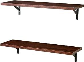 SUPERJARE Wall Mounted Floating Shelves, Set of 2, Display Ledge, Storage Rack for Room/Kitchen/Office - Walnut