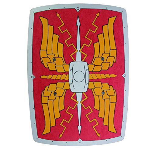 Rectangular Roman Wooden Shield (Red Silver & Gold) - Accessory