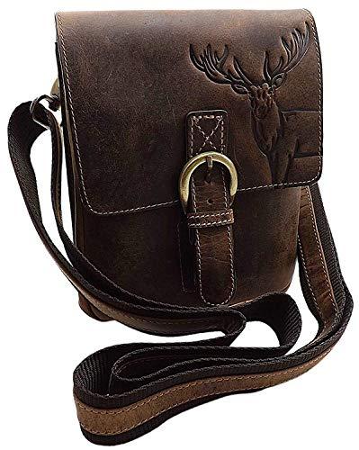 Echt Büffel-Vollleder Handtasche mit Tragegurt in Hoch- oder Querformat mit Hirsch-Motiv in Braun (Modell 1 / Hochformat)