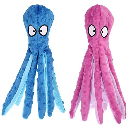 AKlamater Quietschende Spielzeug für Hund 2 Stück Füllungsfreie Oktopus Plüsch-Hundespielzeug Kauspielzeug für Kleine/Mittelgroße